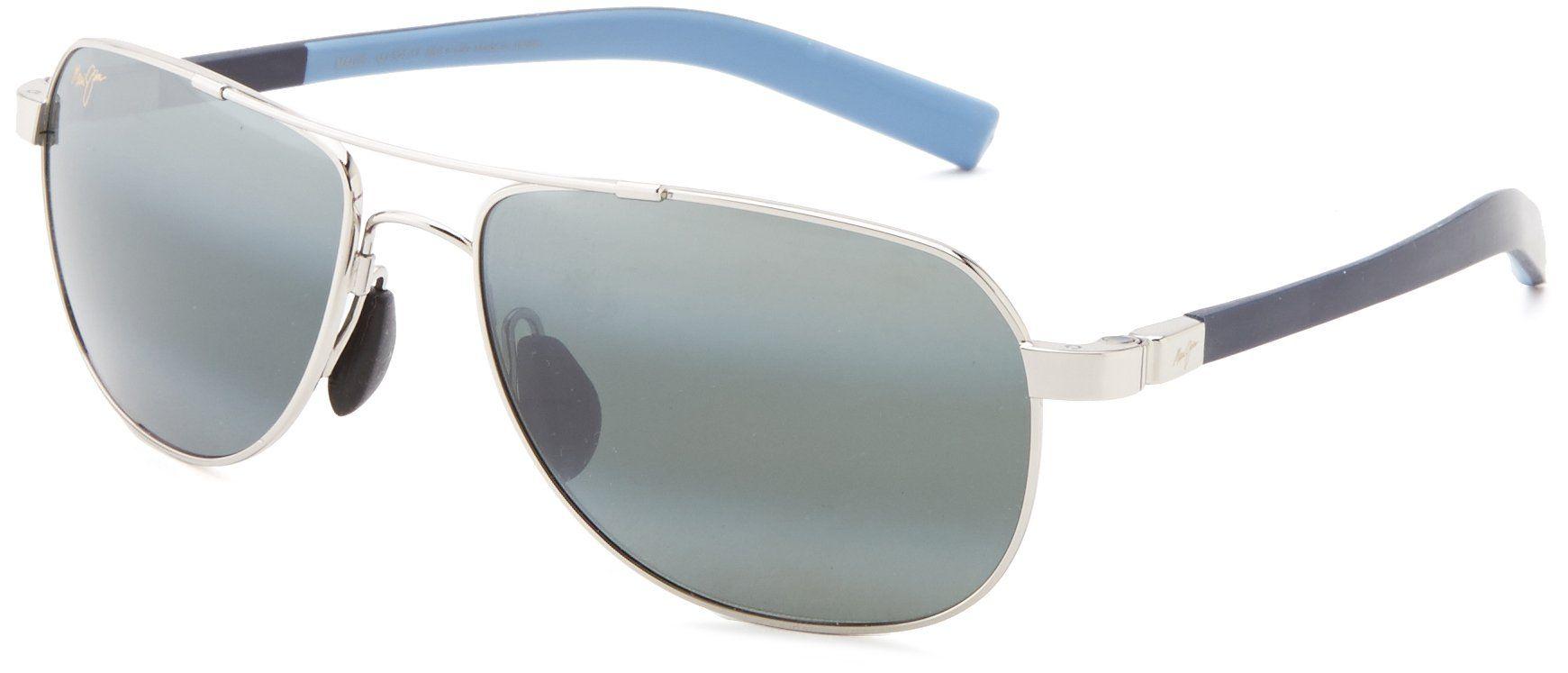 Maui Jim Guardrails 32717 Polarized Aviator SunglassesSilver Frame ...