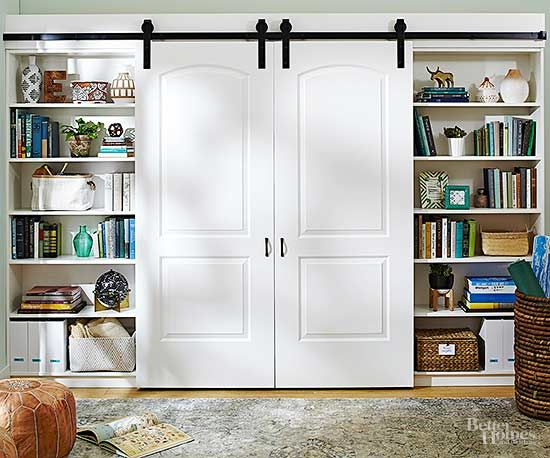 Entertainment Centers Even You Can Diy Barn Door Cabinet Bookshelves Built In Interior Barn