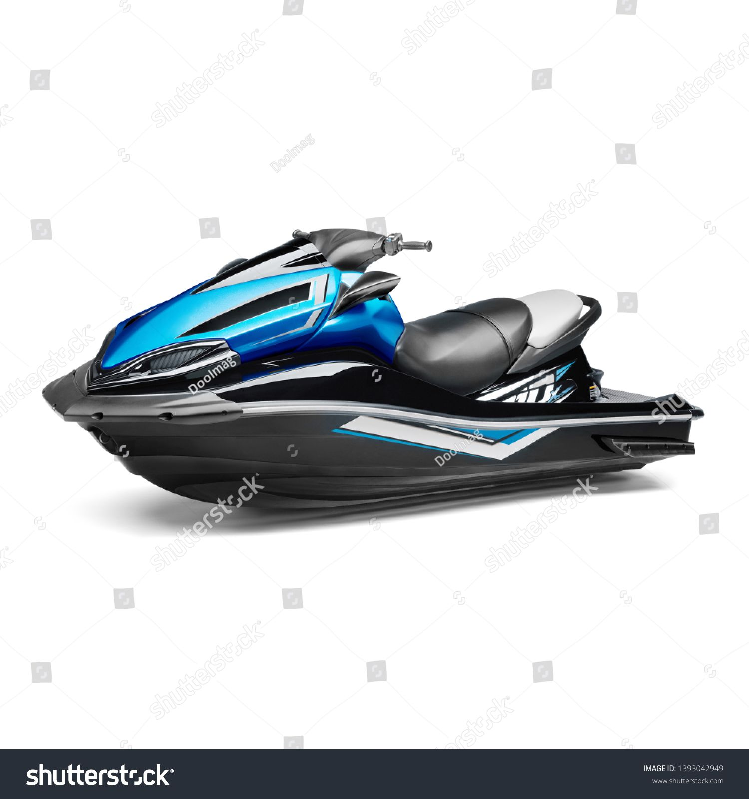 Blue And Black Jet Ski Isolated On White Background Side View Of Water Scooter Pwc Personal Water Craft Vehicle Recreational Watercraft Jet Ski Skiing Blue