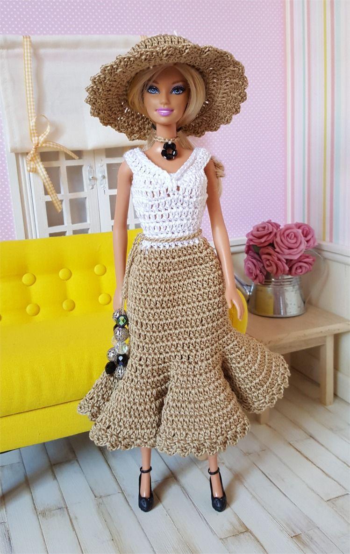 127- FICHE PATRON CROCHET Ensemble Bohème pour poupée Barbie : Jeux ...
