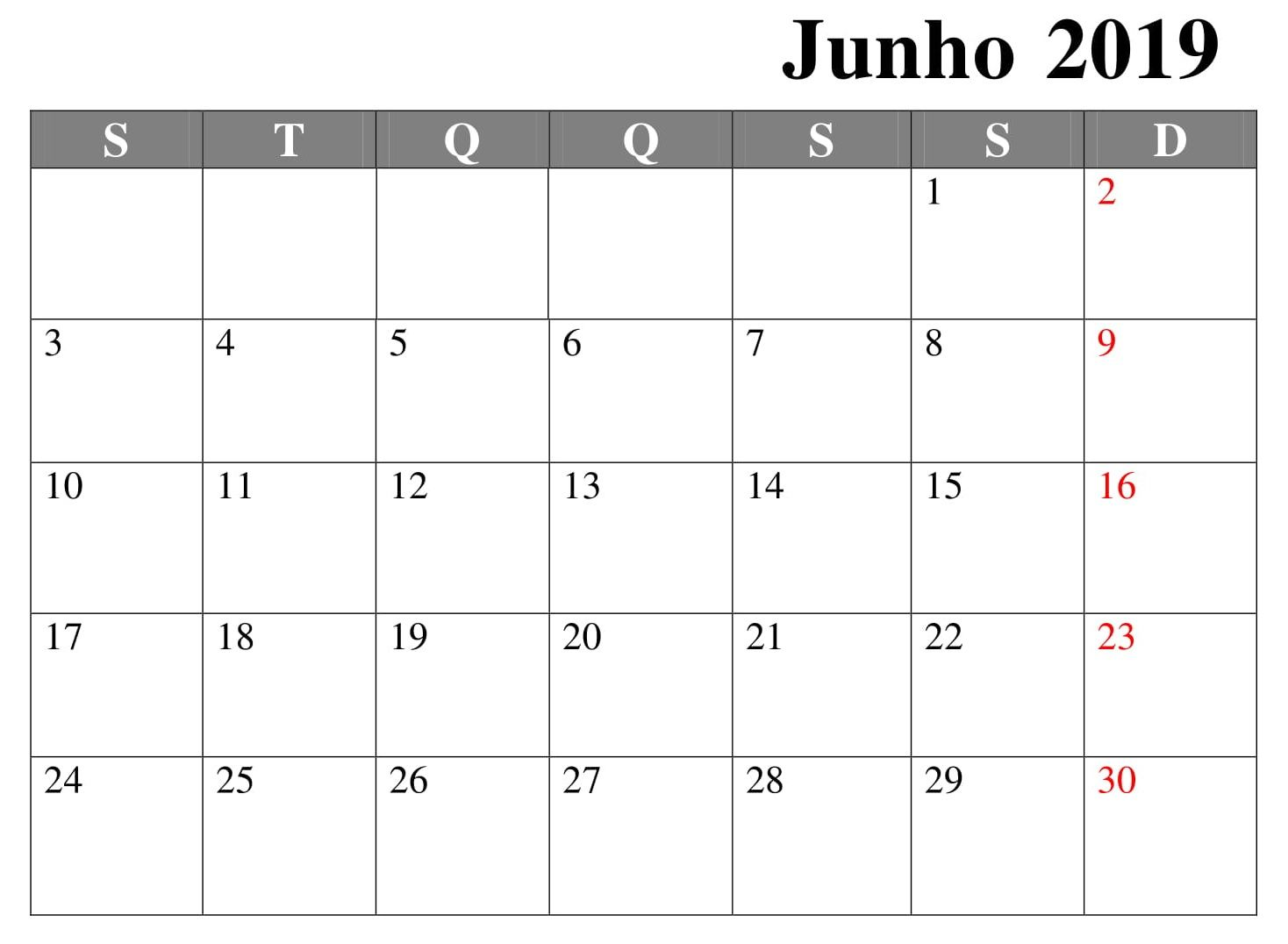 Calendario Word 2019.Junho Calendario 2019 Word Calendario Junho 2019 June 2019