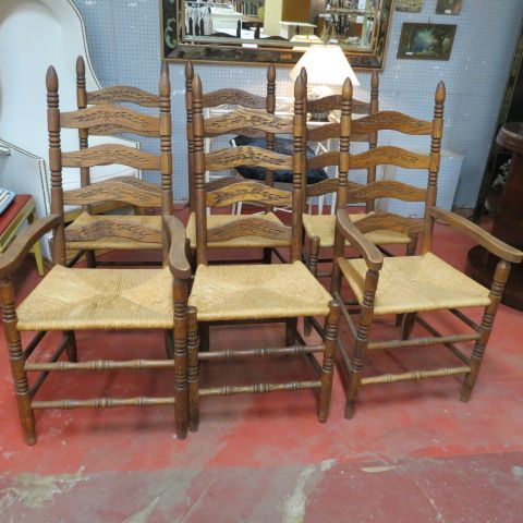 295 Set Vintage Antique Of Six Oak Ladder Back Dining Chairs