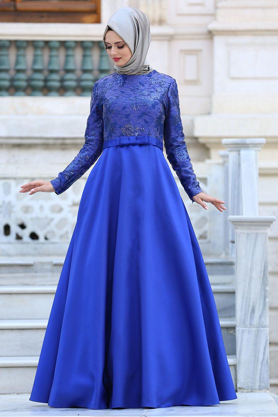 Tuay Mikado Saten Sax Mavisi Tesettur Abiye Elbise 2372sx Tesetturisland Com Elbise Moda Stilleri The Dress