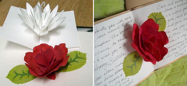 Paper Rose Pop Up Pop Up Card Templates Flower Cards Pop Up Flower Cards