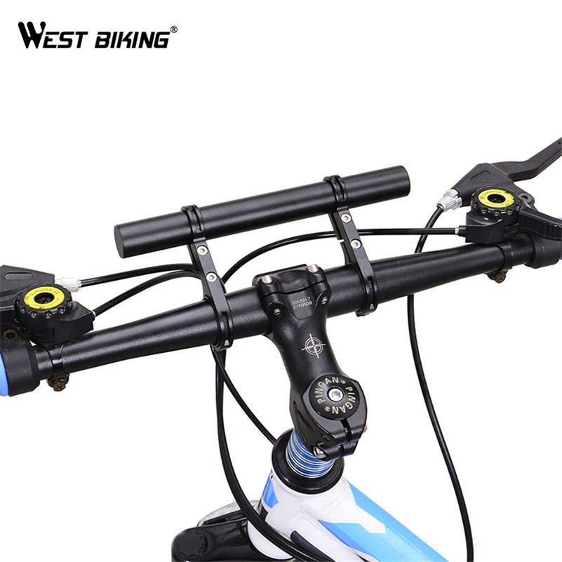Black Bike MTB Bicycle Handlebar Extender Dual Extension Flashlight Mount Holder