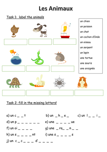 Les Animaux - French animals worksheet | Grade 5/6 French ...