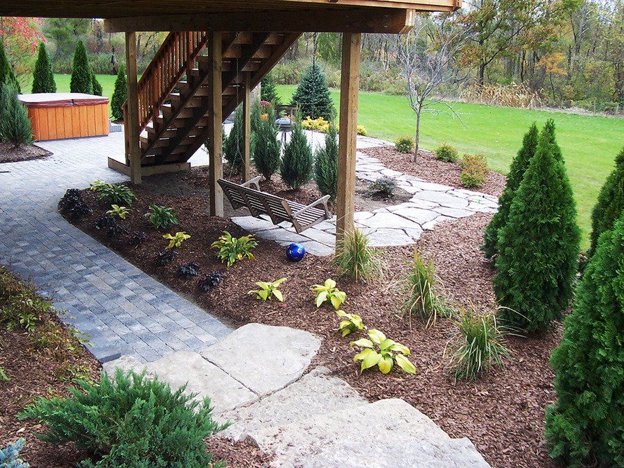 overall hardscape look with plantings Brick pavers, Lawn
