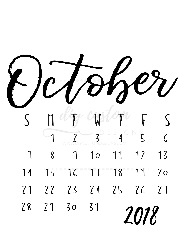 october 2018 calendar pregnancy announcement printable social media reveal black white monthly