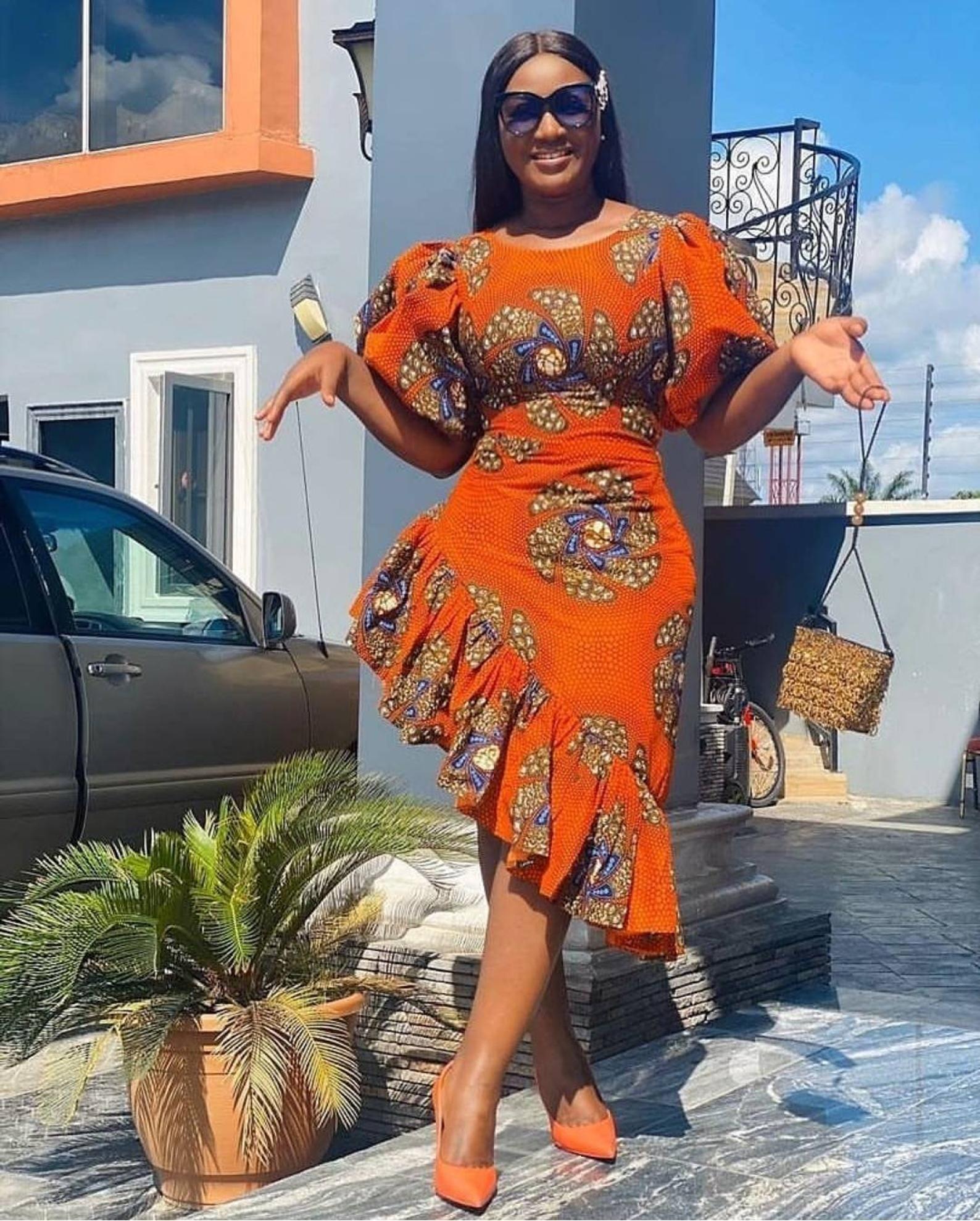 African print assymetrical ruffled midi dress, plu