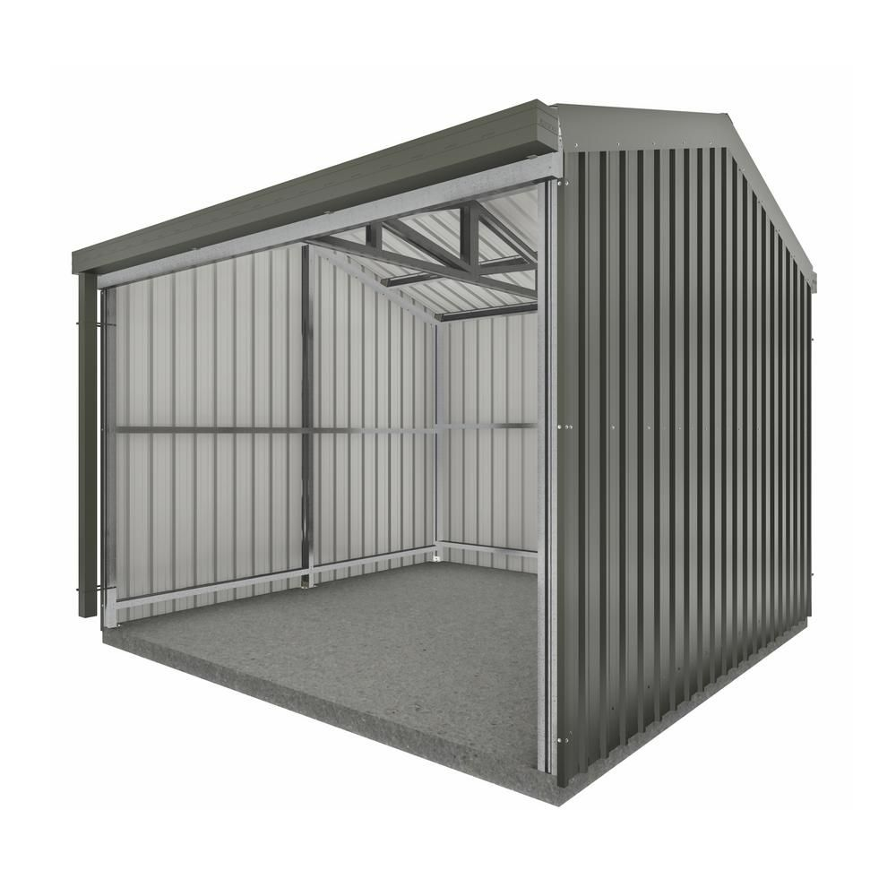 Absco Rural 10 Ft X 10 Ft X 8 Ft Woodland Gray Metal Shed Ab1110 The Home Depot In 2020 Metal Storage Sheds Metal Shed Wood Storage Sheds