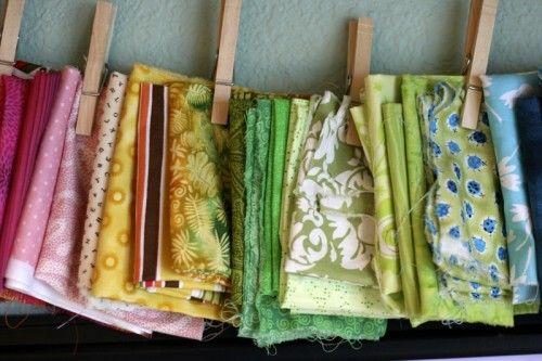 (Jenni) Laundry Line for holding fabric samples or stash treasures (-:  #Organization #SewingRoom #CraftRoom