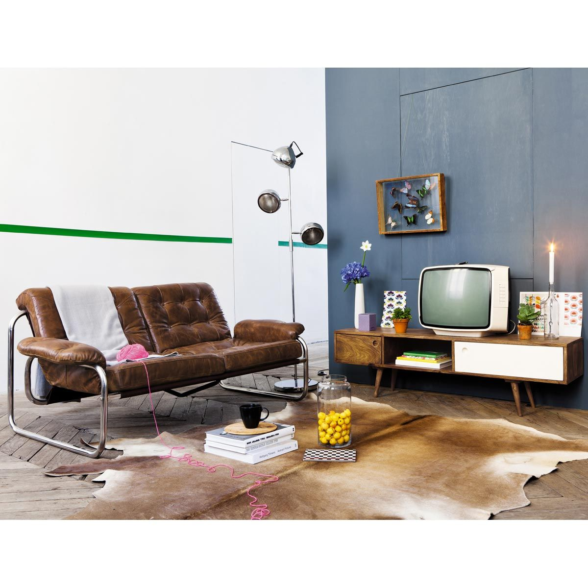 meuble tv vintage en bois de sheesham l 140 cm andersen - Meuble Tv Vintage Andersen