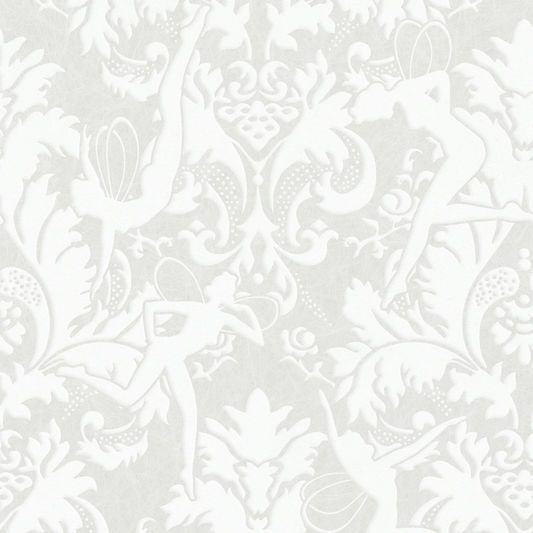 Forest Muses White Wallpaper Flock Wallpaper Brown