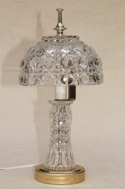 67 50 Similar 90s Vintage Heavy Crystal Clear Glass Table Lamp Vase Base W Bowl Shaped Lamp Shade Clear Glass Table Lamp Table Lamp Lamp