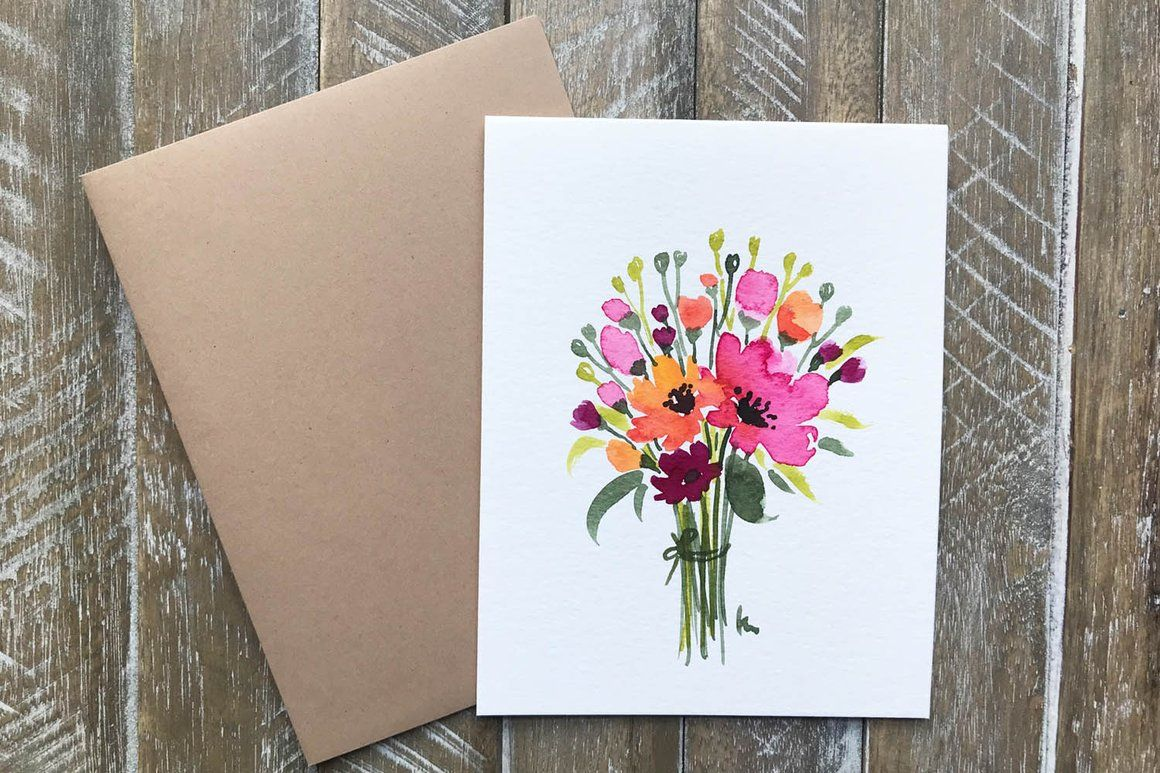 Hand Painted Greeting Cards With Flowers Art Watercolor Ideas