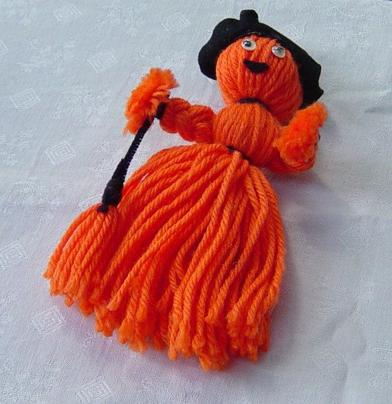 Witch  With Broom Yarn Halloween Decoration by Castawayland, $2.00