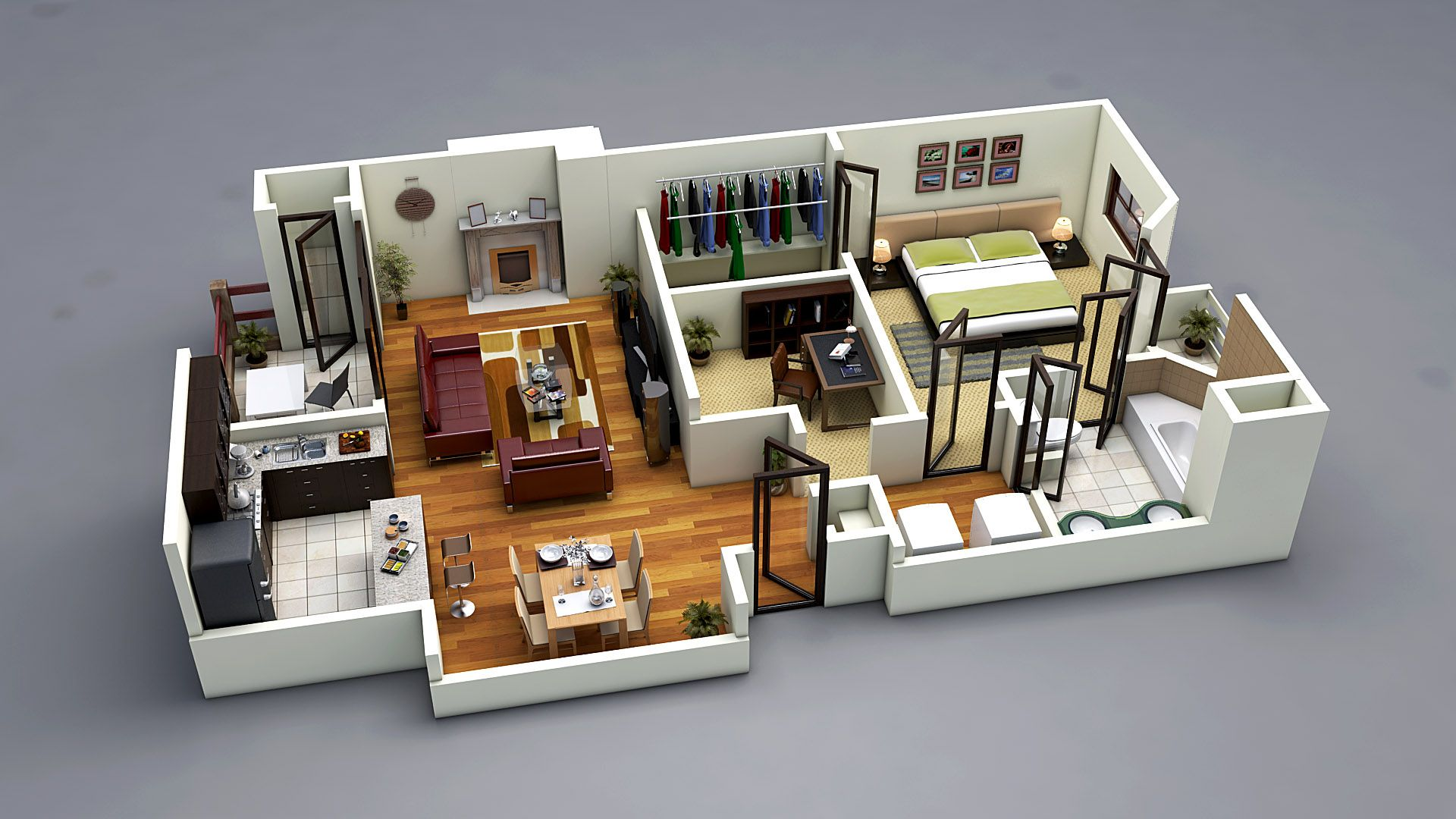 Photo realistic 3d floor plan 3ds max vray www for Decoration 3ds max