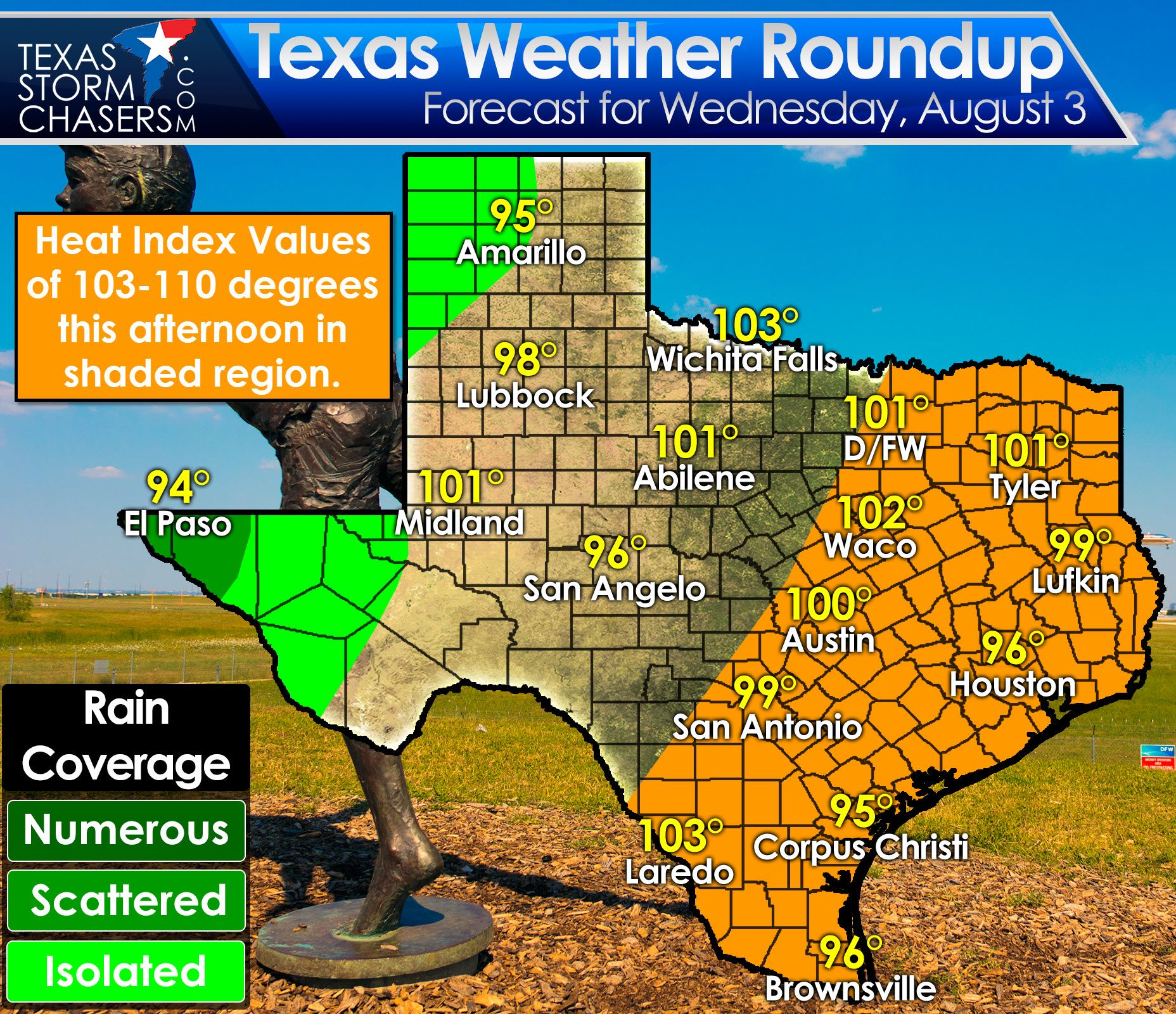 Heat Advisories Expanding With No Cool Off In Sight Texas Storm Chasers Texas Storm Texas Weather Weather Tonight