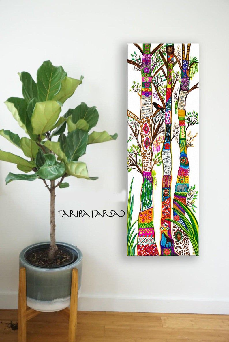 Trees of Life Abstract Art Painting Framed Canvas Print, Colorful Wall Hanging, Bohemian Home Decor, Native American Shamanic Art, Spirit