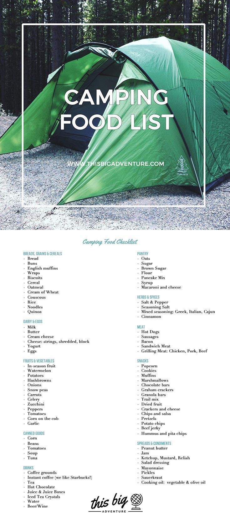 A Comprehensive Camping Food List To Help Take The Campingtentlovers
