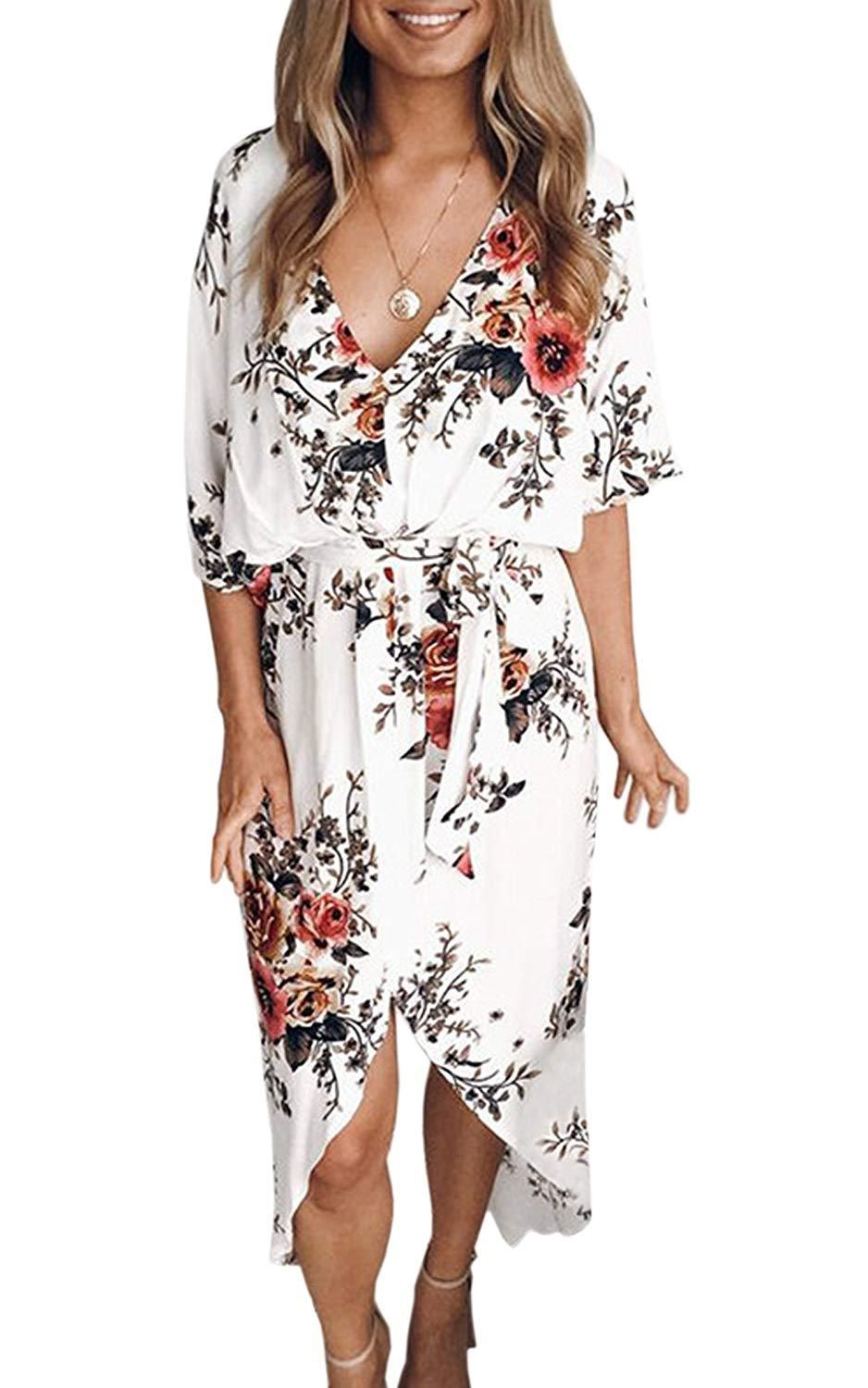 ccf425f530c3 ECOWISH Womens Dresses Summer Casual V-Neck Floral Print Geometric Pattern  Belted Dress