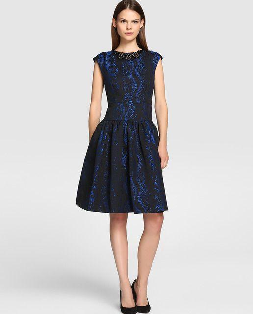 Vestido de fiesta azul con negro