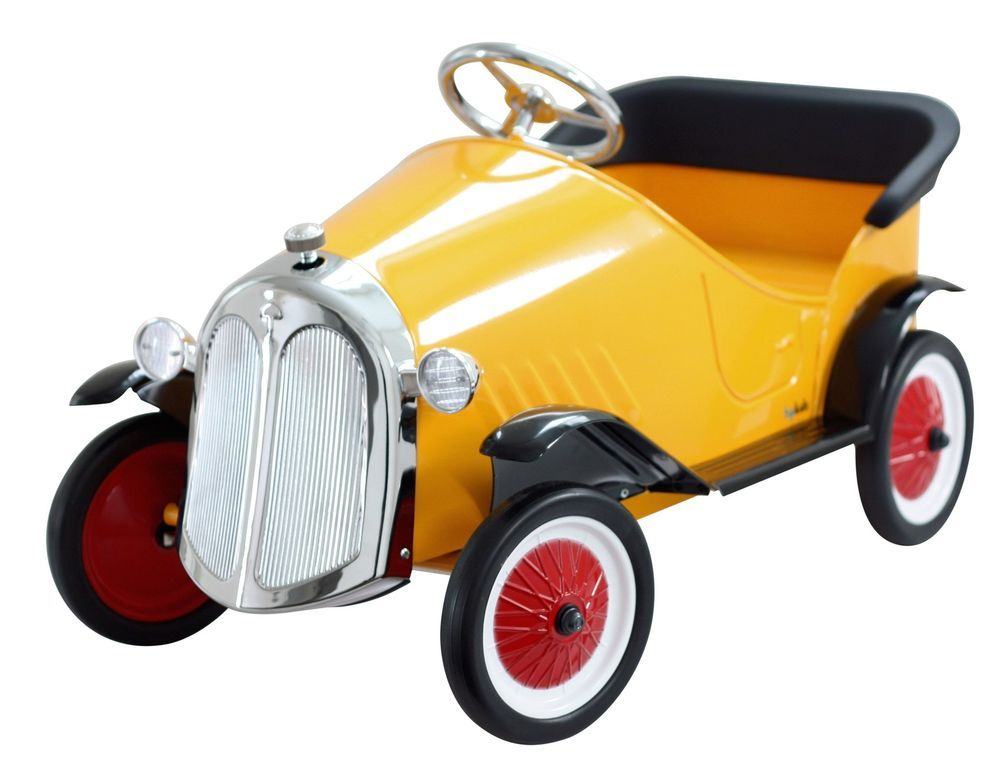 new kids childrens ride on steel metal yellow steel metal vintage pedal cars car
