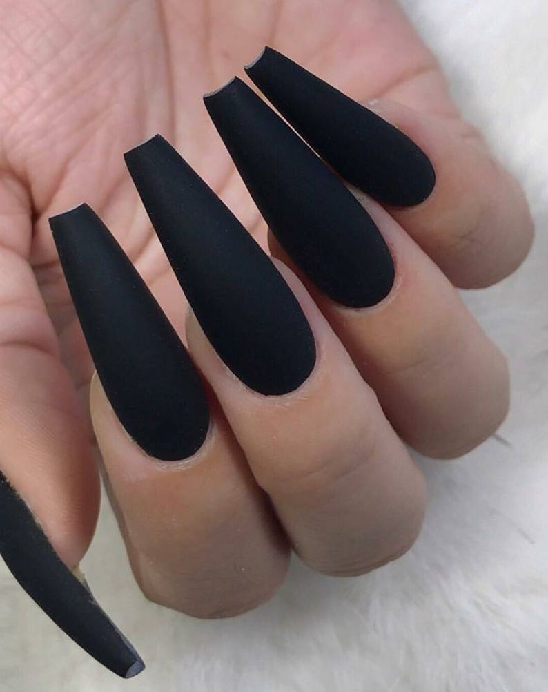 Best Acrylic Nail Design Nail Arts In Our App More 85 Amazing Nail Design Ideas Nailart Naildesign Fren Matte Black Nails Goth Nails Black Acrylic Nails