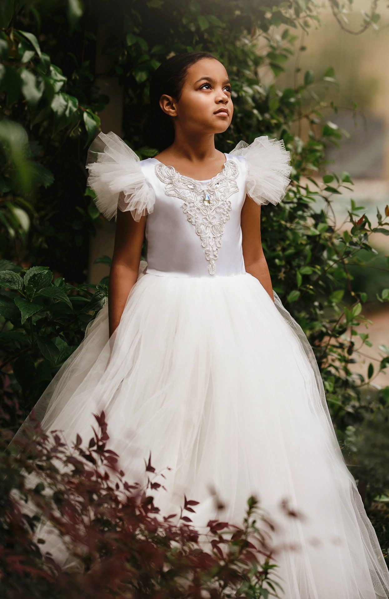 Couture Ivory Flower Dress Perfect For Fairytale Wedding Or Disney S First Communion Confirmation Cinderellawedding