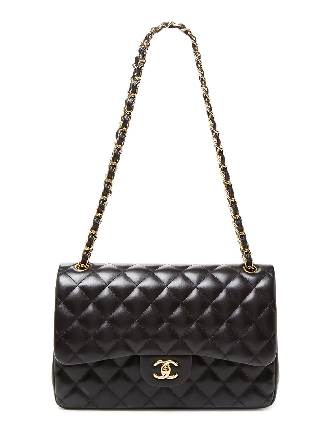 cd3ab38d41ad2f Black Quilted Lambskin Jumbo Classic 2.55 Double Flap Bag   Women ...