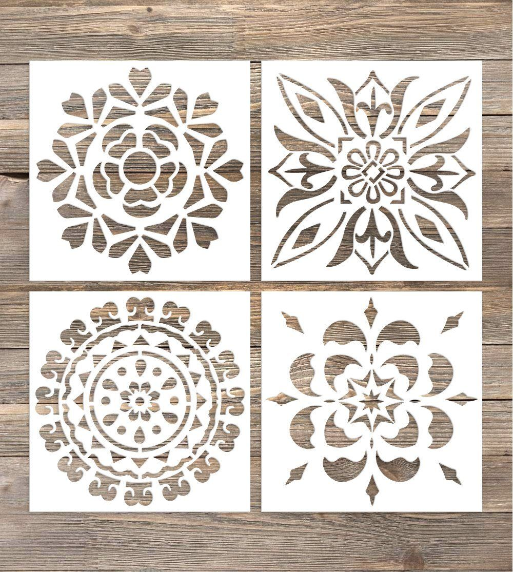 Amazon Com Gss Designs Pack Of 4 Wall Stencils 6x6 Inch Moroccan
