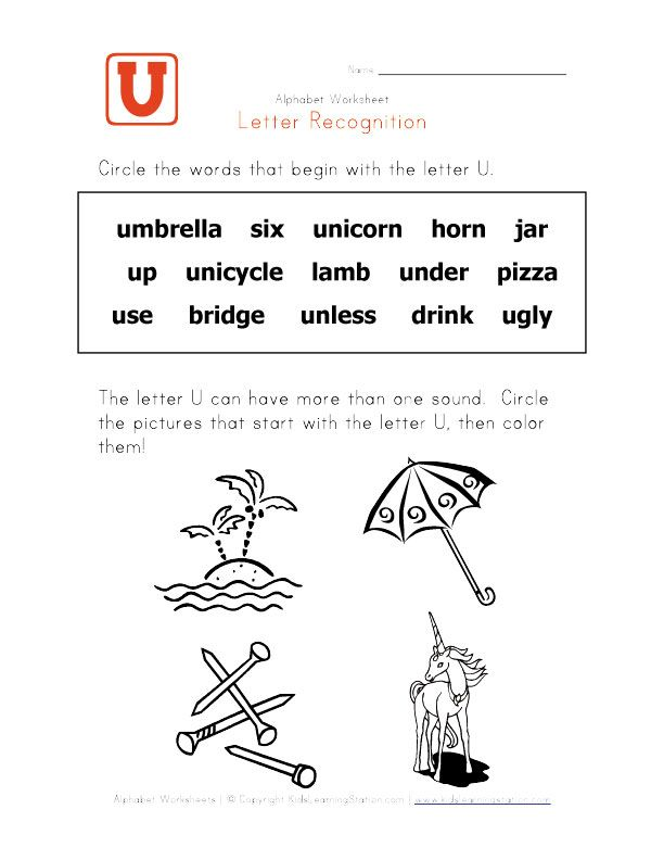 Worksheets Letter U Word For Preschool words letters and alphabet on pinterest
