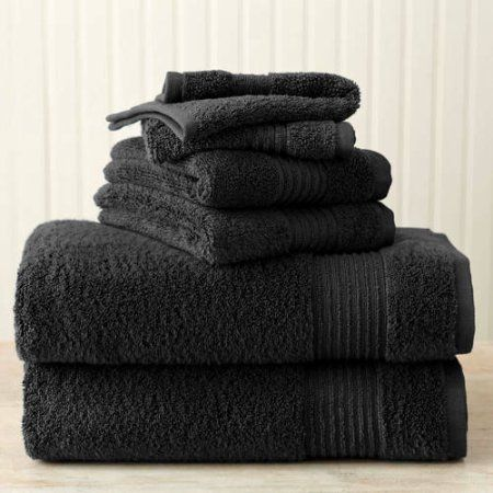 Better Homes And Gardens Extra Absorbent Bath Towel, 4 Piece Assorted Set,  Black