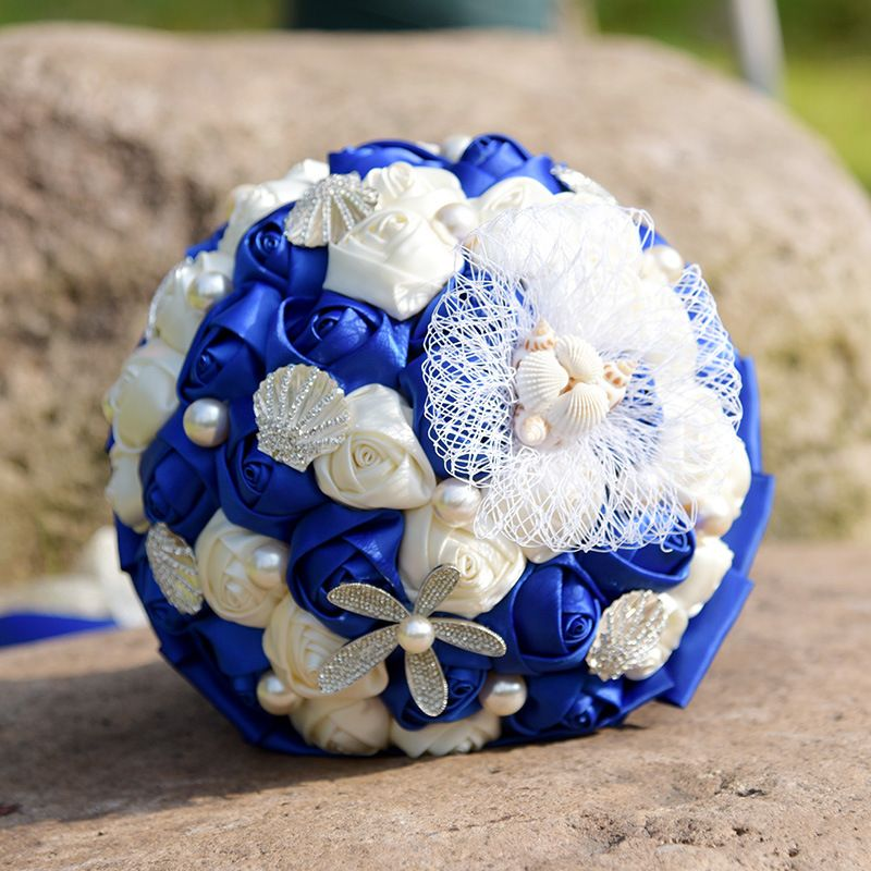 Hot Sale Royal Blue Wedding Flowers Bridal Satin Bouquets Crystals ...