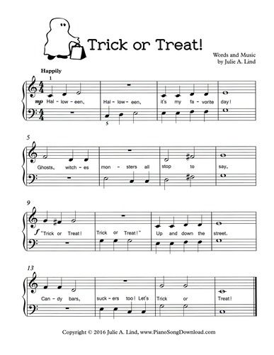 trick or treat free printable halloween sheet music for piano