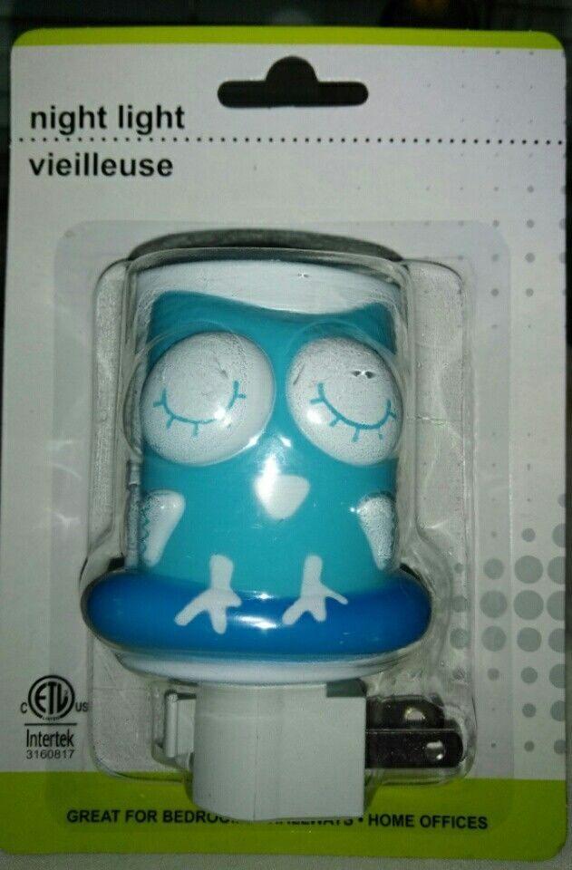 Sleepy Blue Perched Baby Owl Intertek Bedroom Night Light (new In Package)