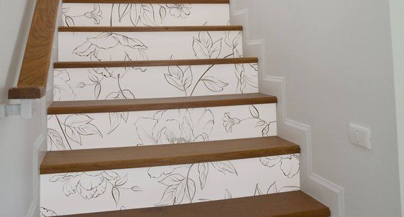 10 Strips Of Stair Riser Sketched Flowers Removable Sticker Peel Stick Staircase Decals Removable Star Riser Decals S 41 Stair Risers Stair Stickers Staircase Decals