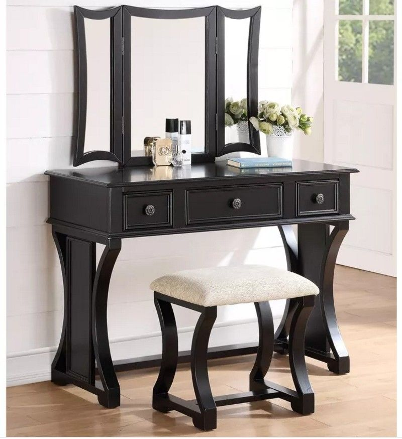 Swell Poundex F4116 3 Pc Black Finish Wood Make Up Bedroom Vanity Pabps2019 Chair Design Images Pabps2019Com