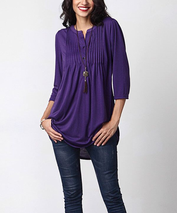 Look at this Reborn Collection Purple Notch Neck Pin Tuck Tunic on #zulily today!