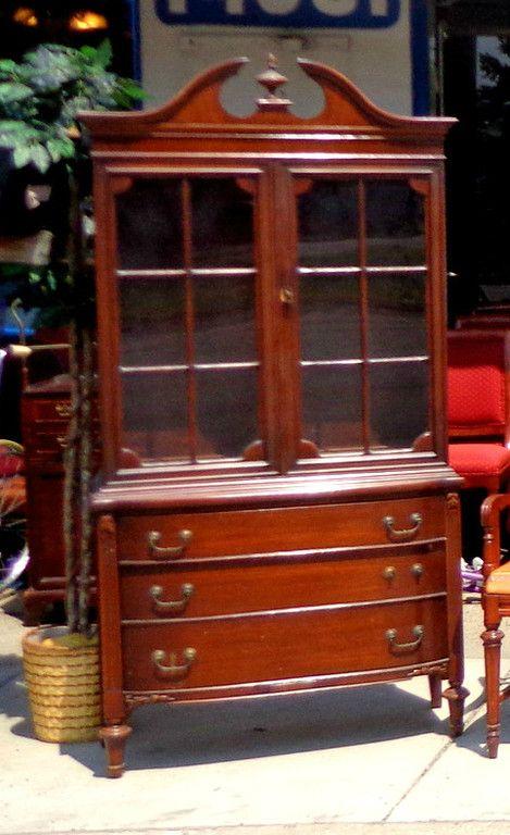 China & Curio Cabinets - Used Furniture Detroit Area (FredsUniqueFurniture) - Elegant Antique Victorian China Cabinet. 37 X 17 X 76. $295