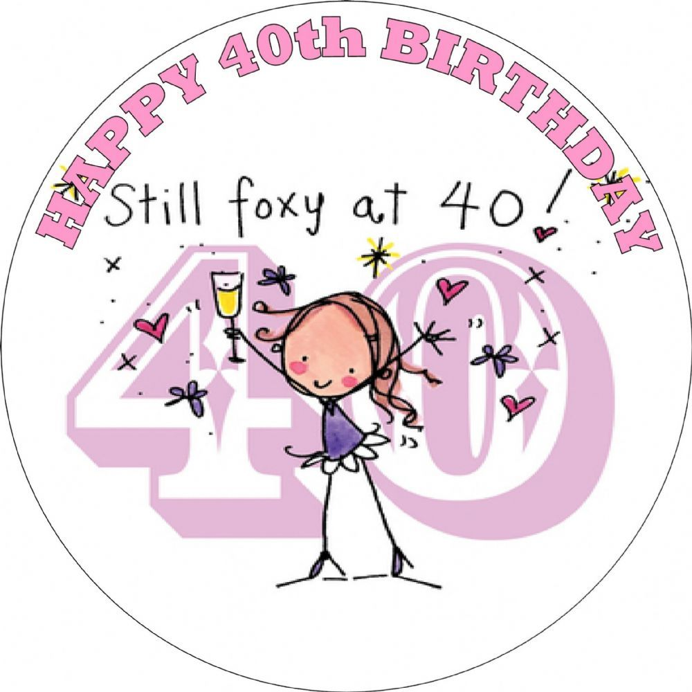 Happy 40th Birthday Female Edible Cake Topper
