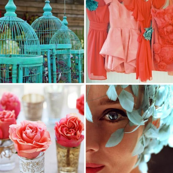 Coral and blue and yellow wedding! I like the orange dresses with ...