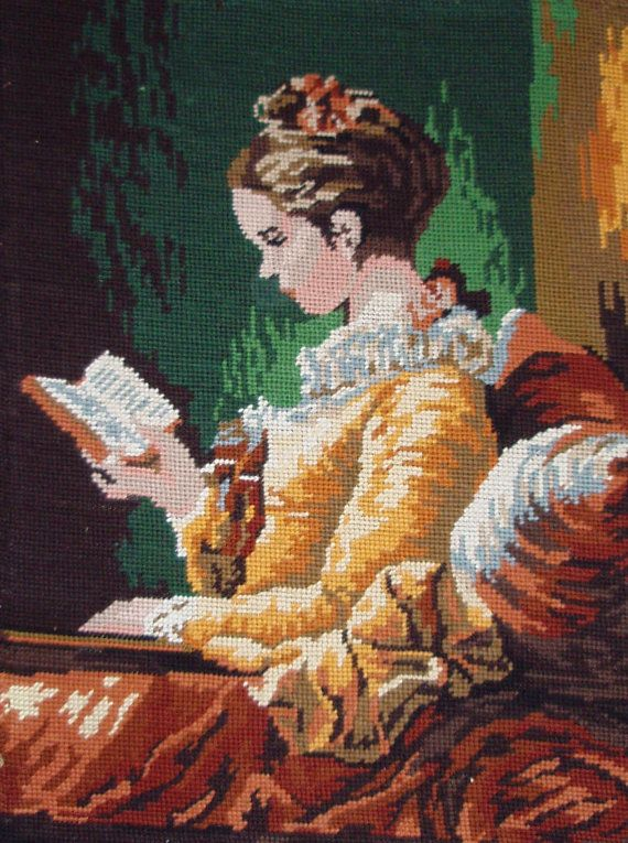 Vintage French needlepoint canvas tapestry embroidery  by TitaTita