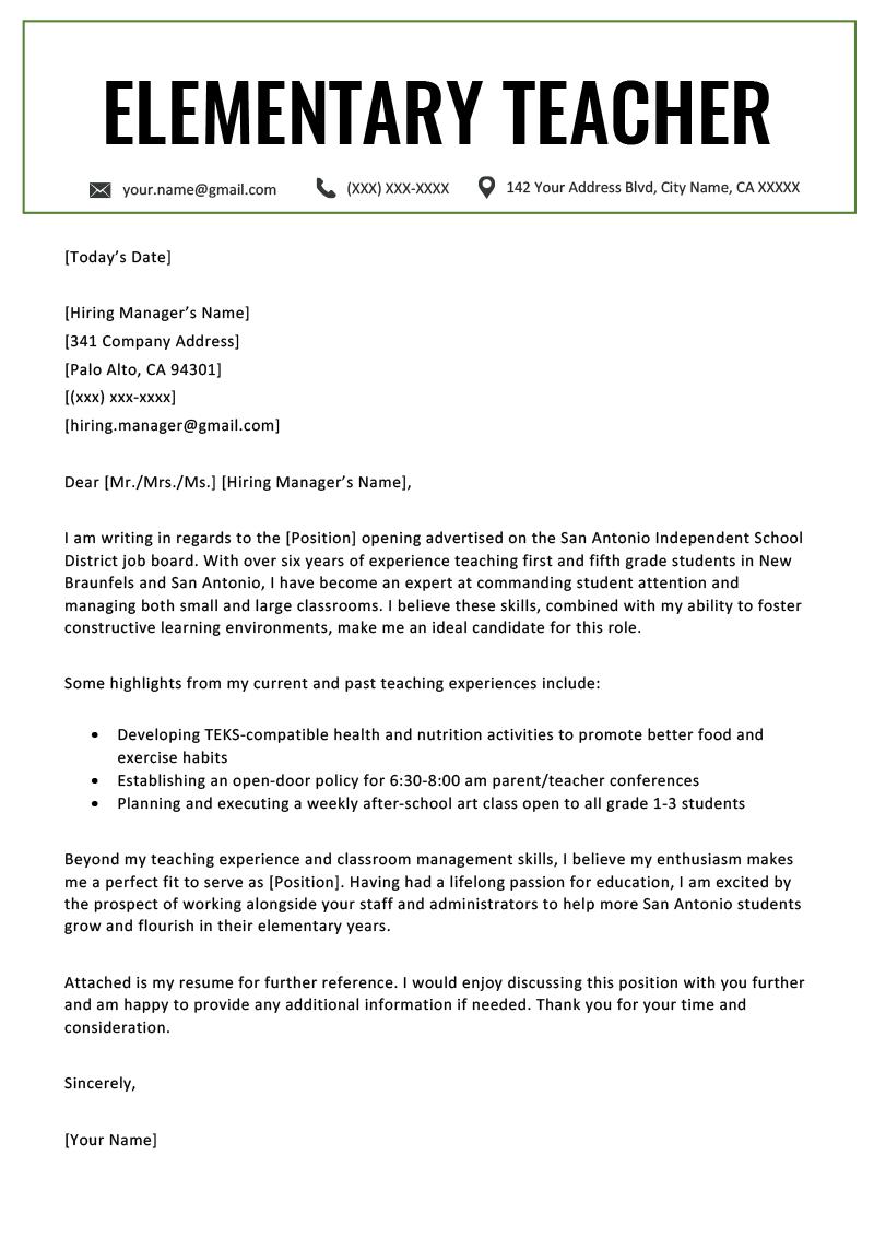 Elementary Teacher Cover Letter Example & Writing Tips ...