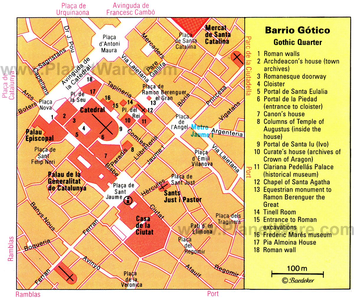 barcelona gothic quarter map tourist attractions httpwwwplanetwarecombarcelonagothic quarter e cat bargothtm