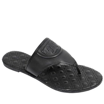28ada0d10da99e Tory Burch Black Fleming Flip Flop Leather Flat Sandals Size US 8 Regular (M