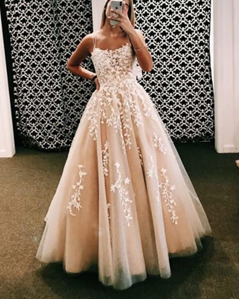 PL0525 Amazing Ivory / Nude  Criss-cross Back Spaghetti Lace Ball Gown Sweet 16  Tulle Lace Gown Girls Party Prom Dresses Longo Vestido