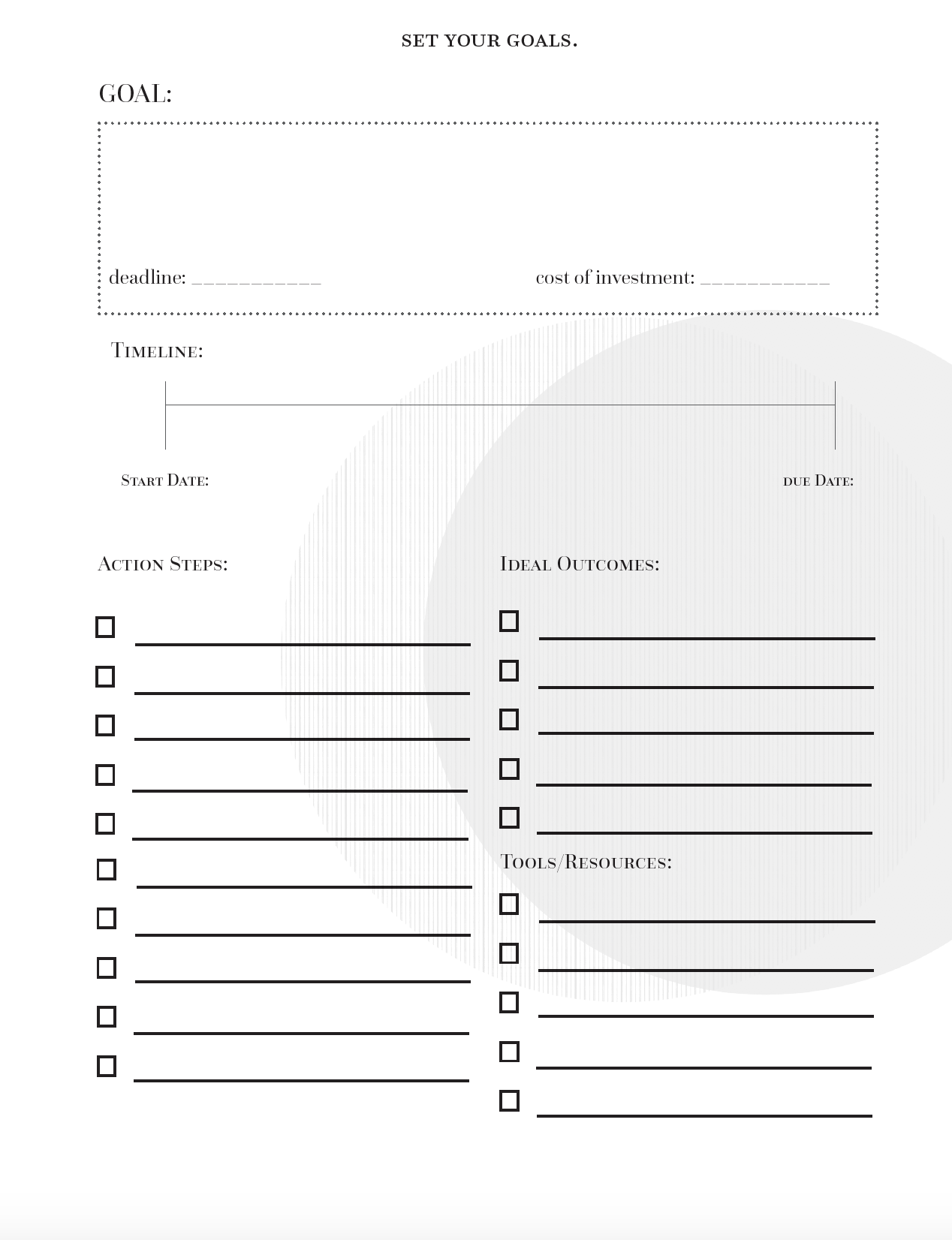 Goal Planning Worksheets