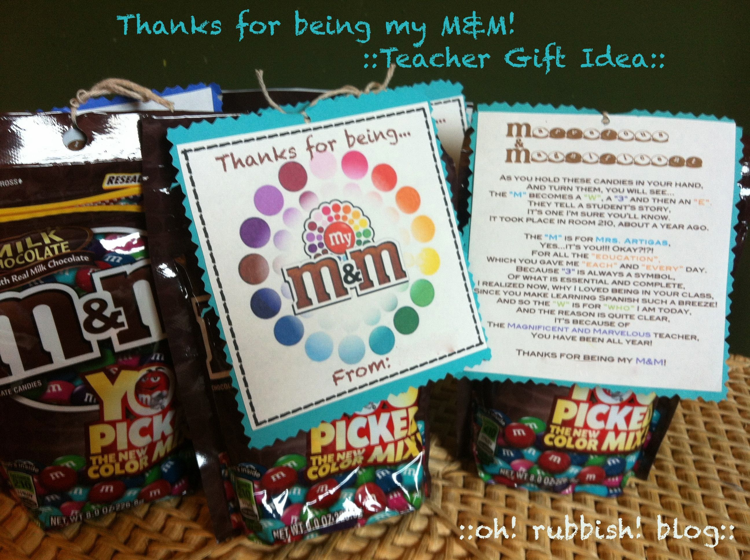 Classroom Gift Ideas ~ Thanks for being my m teacher gift idea