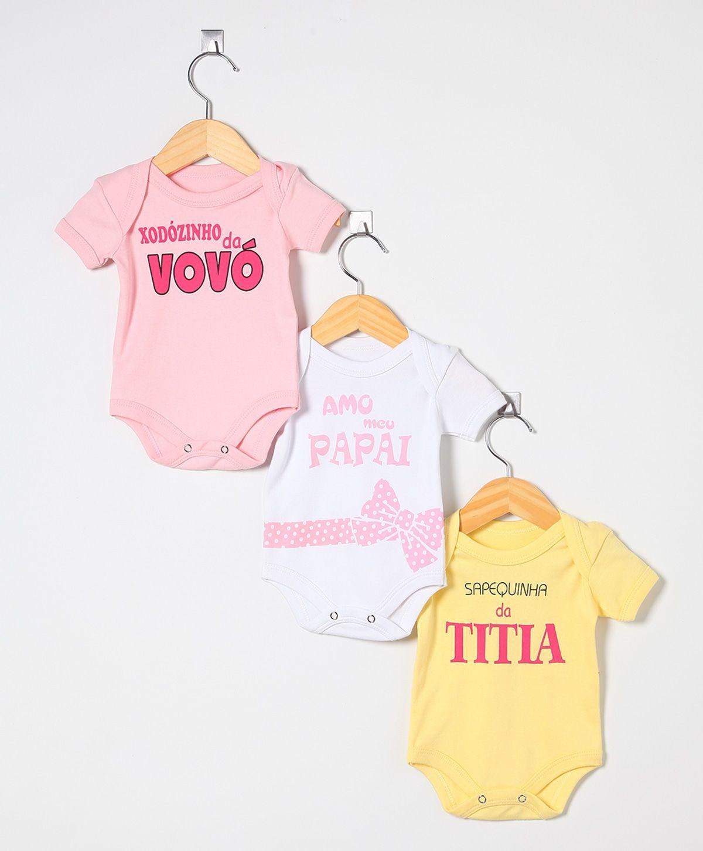 Kit de 3 Bodies Amarelo, Branco e Rosa